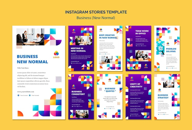 Business new normal instagram stories Free Psd