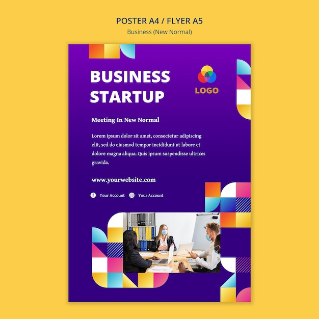 Business new normal poster concept Free Psd