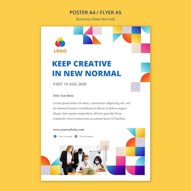 Business new normal poster style Free Psd