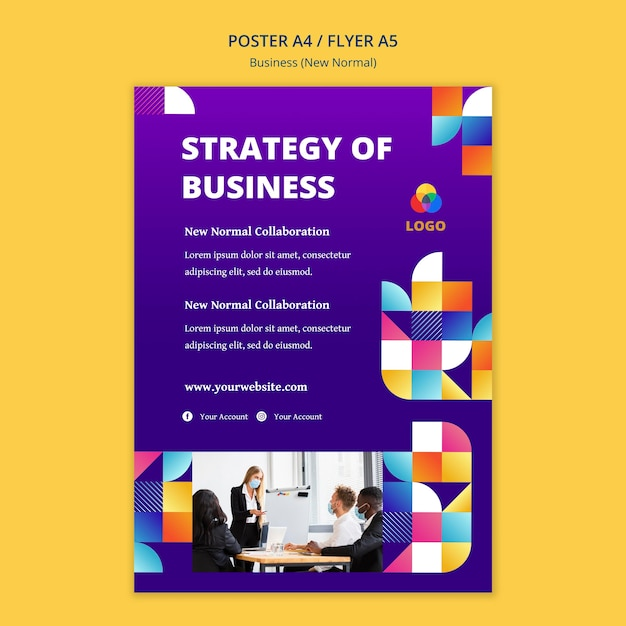 Business new normal poster template concept Free Psd