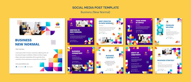 Business new normal social media post Free Psd