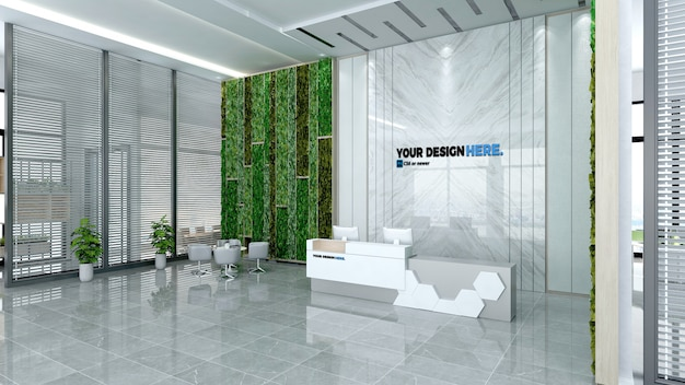 Business office front desk mockup Premium Psd