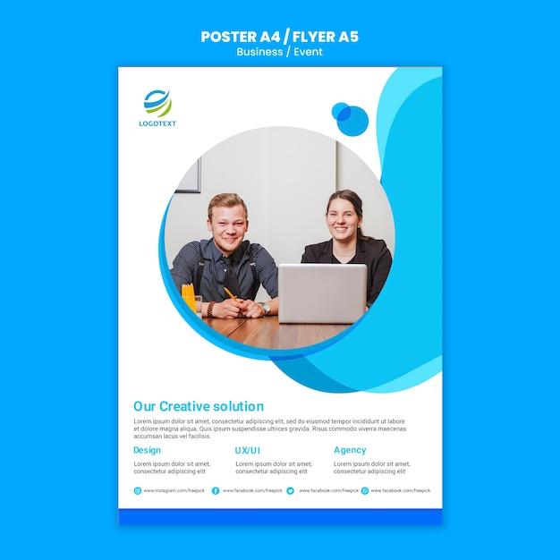 Бизнес онлайн постер концепция с шаблоном Бесплатные Psd