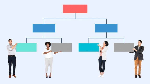 Business people with an organizational chart Premium Psd