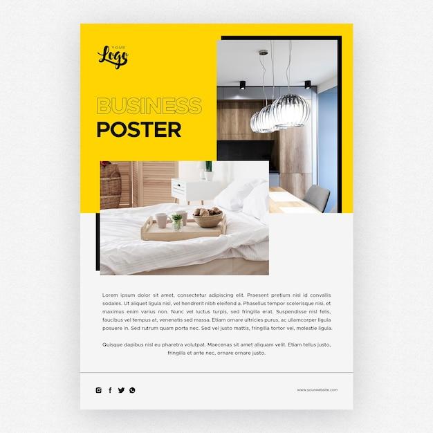 침실 가정 장식 사업 포스터 템플릿 무료 PSD 파일