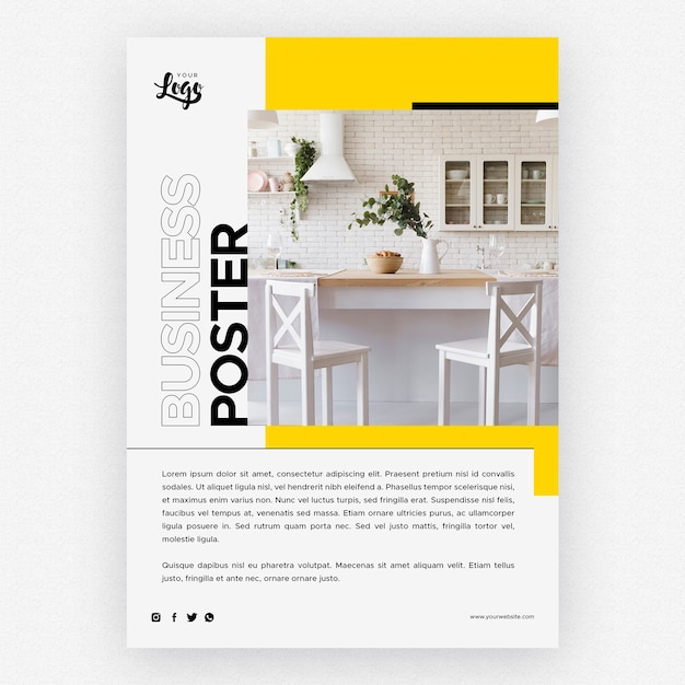 Business poster template with kitchen home decor Free Psd