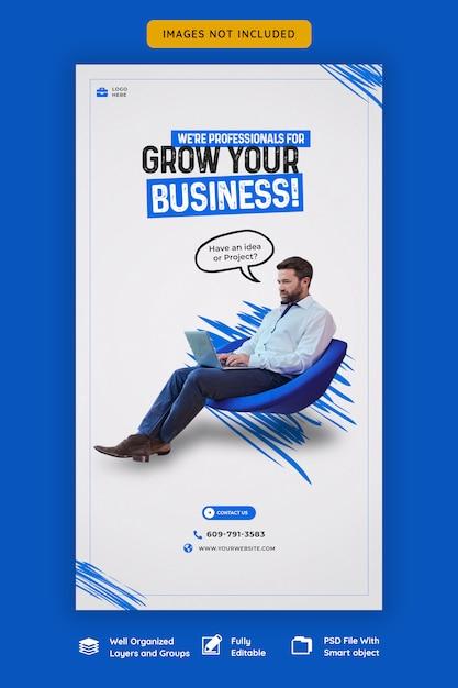 Шаблон продвижения бизнеса и корпоративной истории instagram Premium Psd