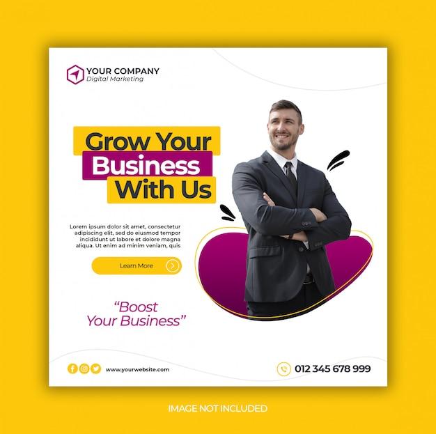 ビジネスプロモーションと企業のソーシャルメディアバナーテンプレートまたは正方形のチラシ Premium Psd
