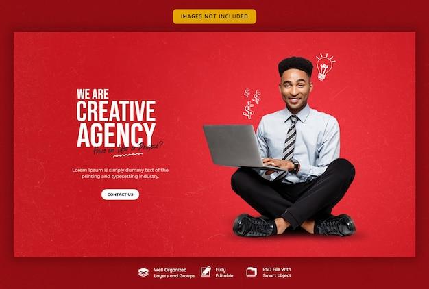 Продвижение бизнеса и креативный шаблон веб-баннера Бесплатные Psd