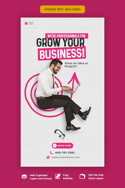 Business promotion and corporate instagram story template Premium Psd