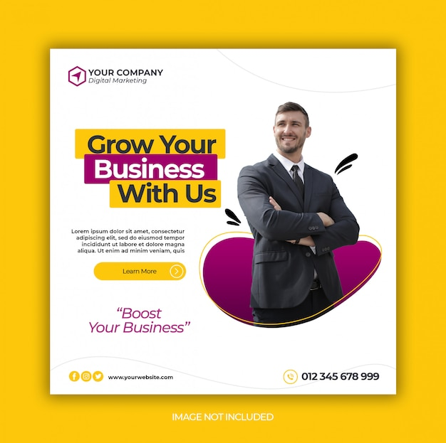 Business promotion and corporate social media banner template or square flyer Premium Psd