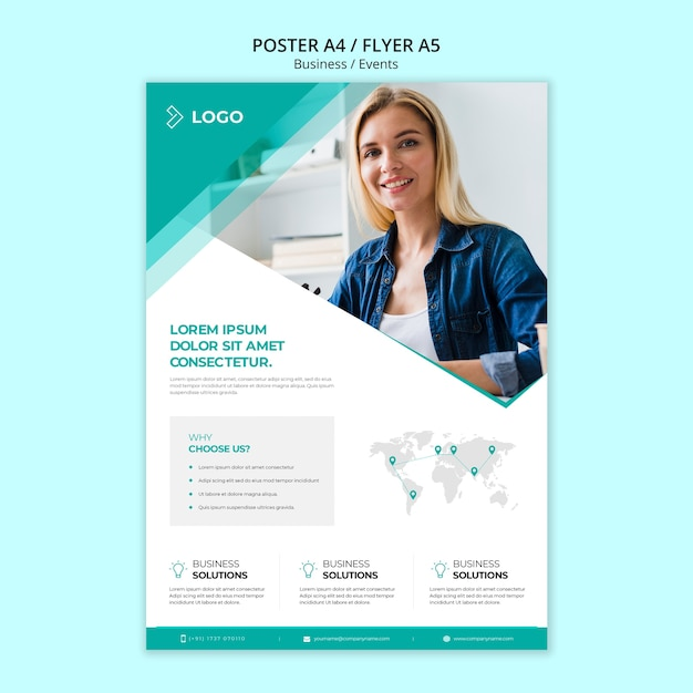 Business promotion template with poster Free Psd