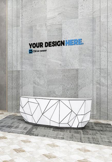 Business reception front desk mockup Premium Psd