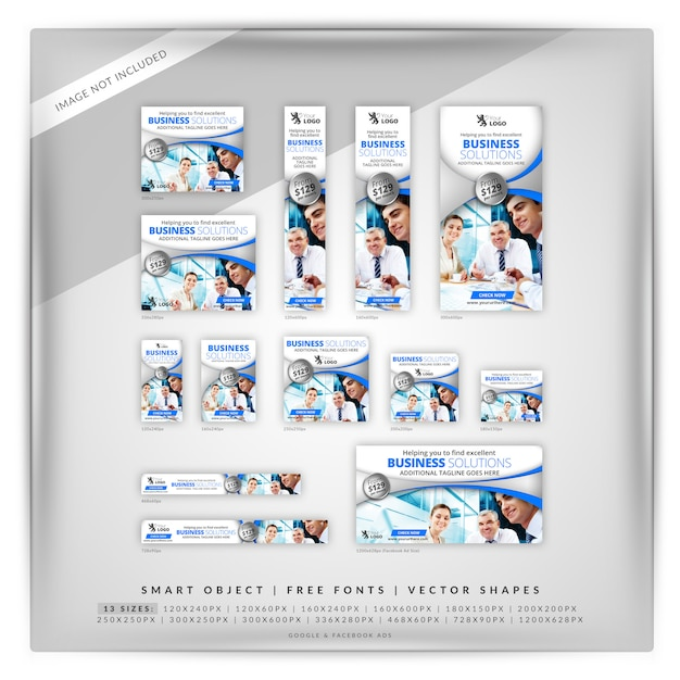 Business solutions clean google & facebook ads Premium Psd