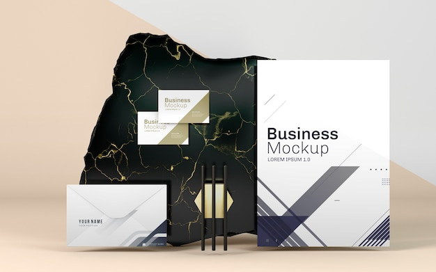 ビジネスステーショナリーのモックアップとエレガントな大理石 無料 Psd