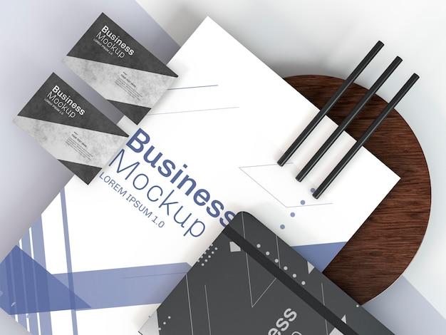 ビジネスステーショナリーのモックアップと鉛筆 無料 Psd