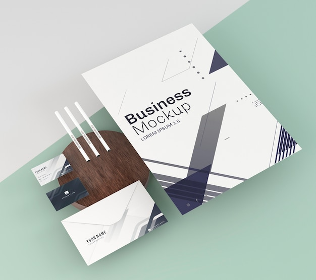 Макет бизнес-канцелярских принадлежностей Бесплатные Psd