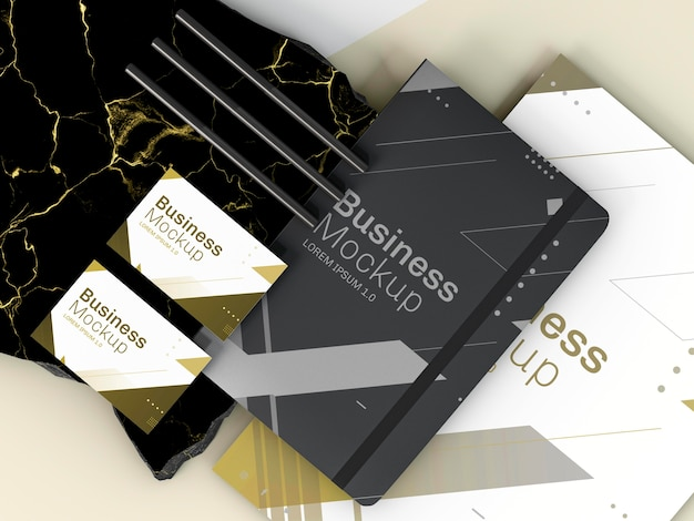 ビジネスステーショナリーモックアップカードとメモ帳 無料 Psd