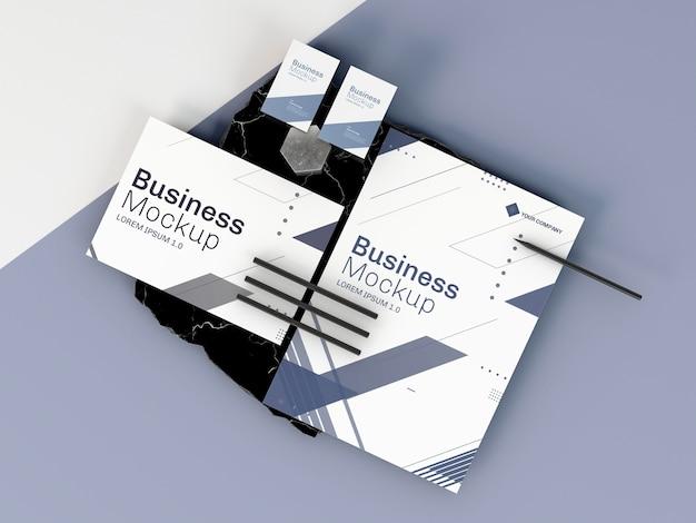 비즈니스 문구 모형 평면 배치 프리미엄 PSD 파일
