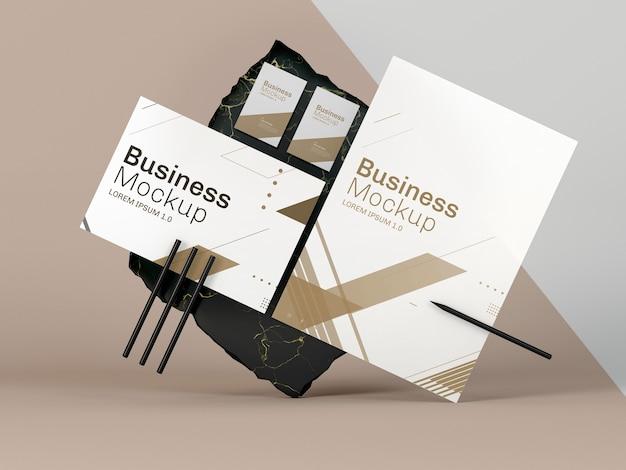 Макет бизнес-канцелярских принадлежностей, вид спереди Premium Psd