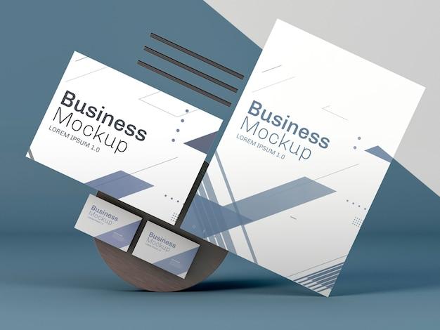 파란색 배경에 비즈니스 편지지 모형 무료 PSD 파일