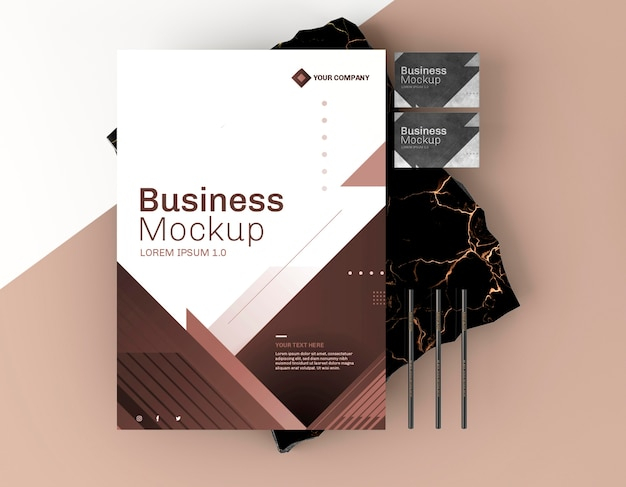 비즈니스 문구 모형 포스터 평면도 무료 PSD 파일