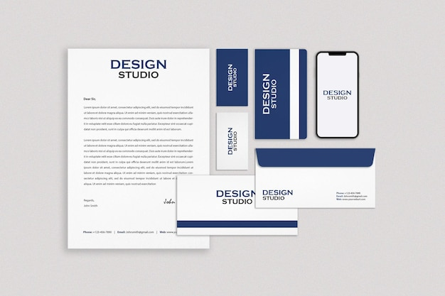 Business stationery set mockup design Premium Psd