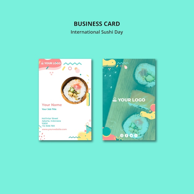 Business visiting card sushi restaurant Free Psd