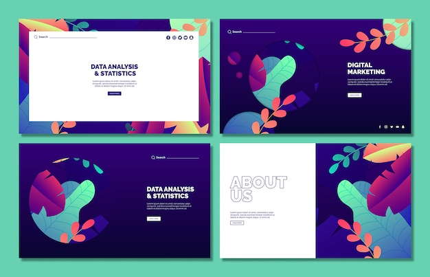 Business web template mockup set Free Psd