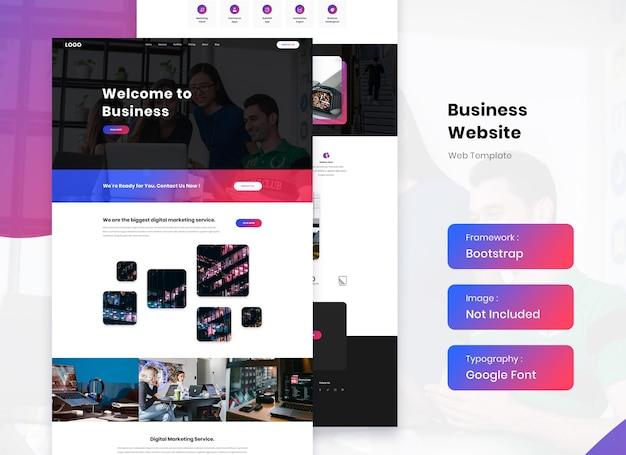 Дизайн шаблона лендинга бизнес-сайта Premium Psd