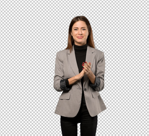 Business woman applauding after presentation in a conference Premium Psd