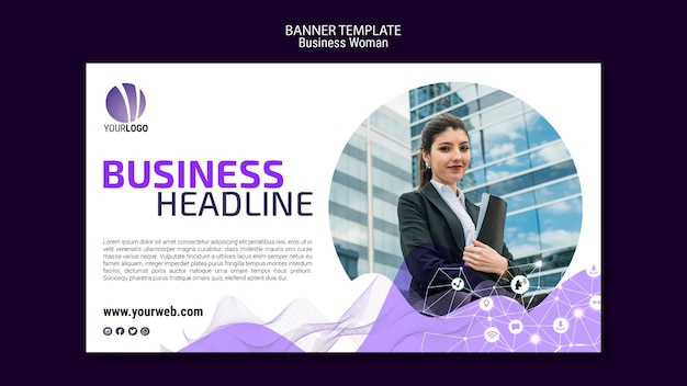 Business woman banner template Free Psd