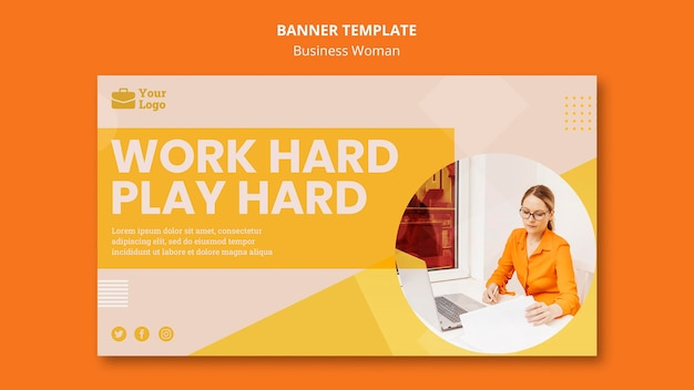 Business woman concept banner template Free Psd