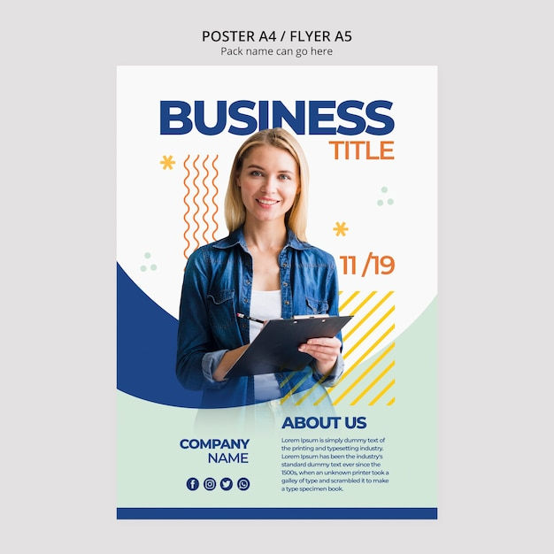 Business woman content for poster template Free Psd