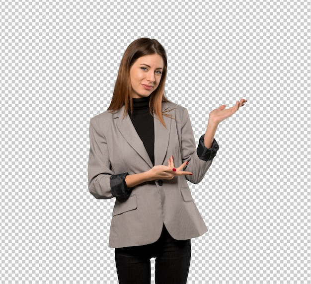 Business woman extending hands to the side for inviting to come Premium Psd