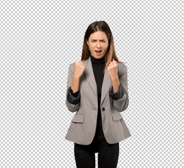 Business woman frustrated by a bad situation Premium Psd