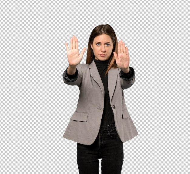 Business woman making stop gesture and disappointed Premium Psd