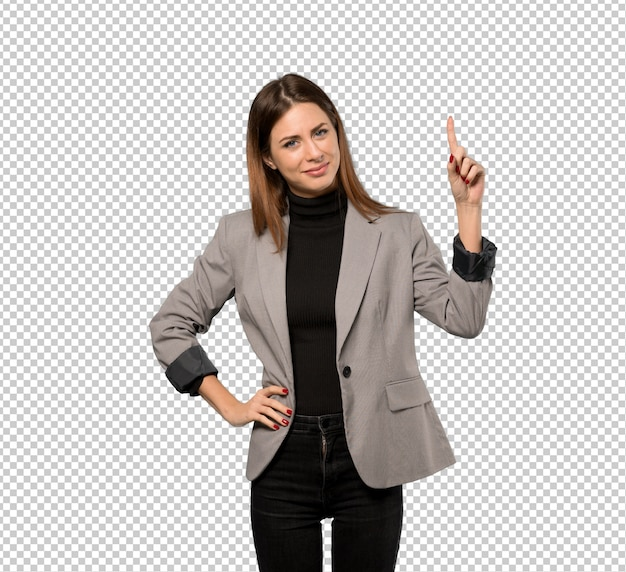 Business woman showing and lifting a finger in sign of the best Premium Psd