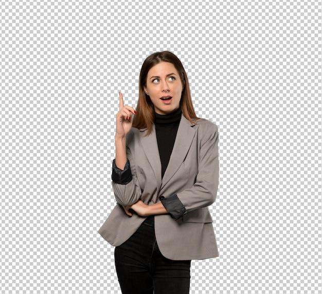 Business woman thinking an idea pointing the finger up Premium Psd