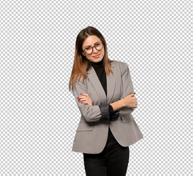 Business woman with glasses and smiling Premium Psd