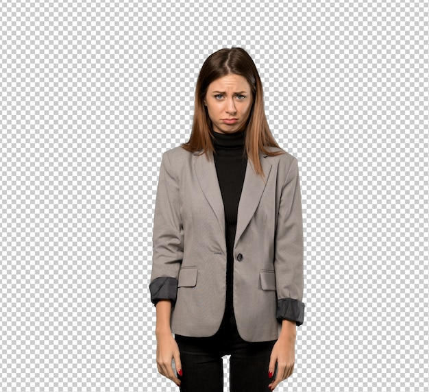 Business woman with sad and depressed expression Premium Psd
