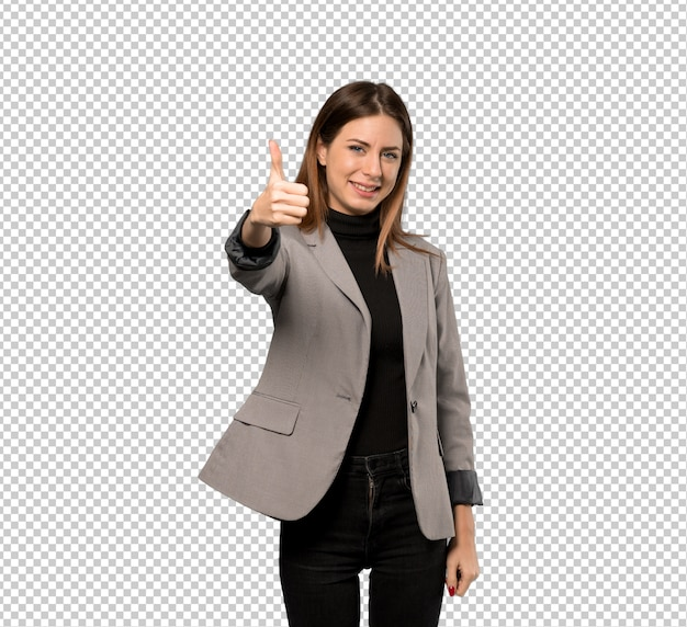 Business woman with thumbs up because something good has happened Premium Psd