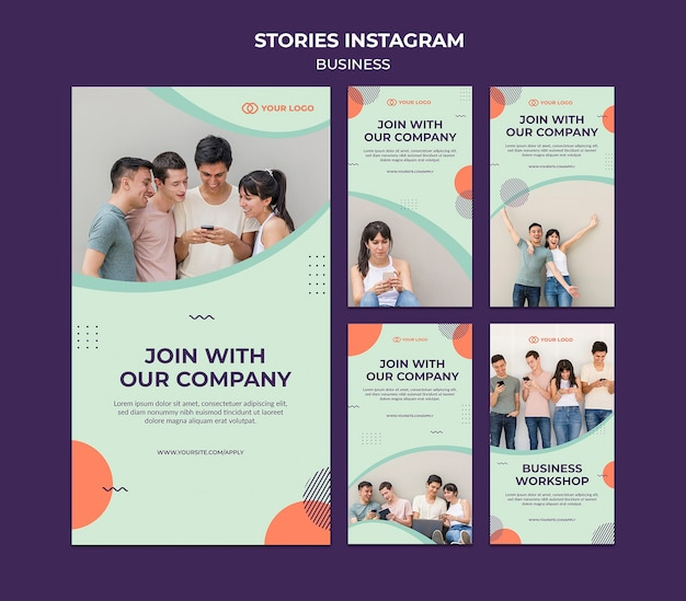 Business workshop concept instagram stories Free Psd