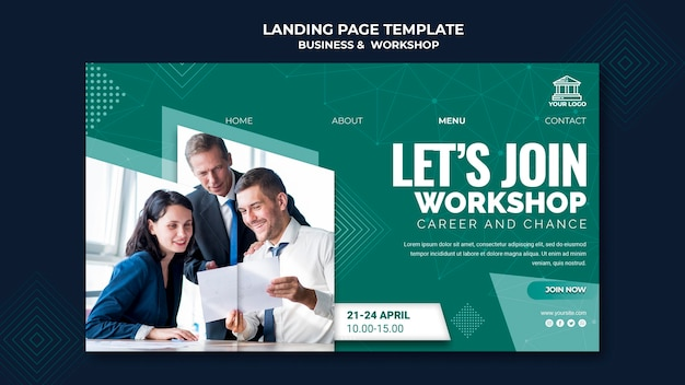 Business & workshop landing page design Free Psd