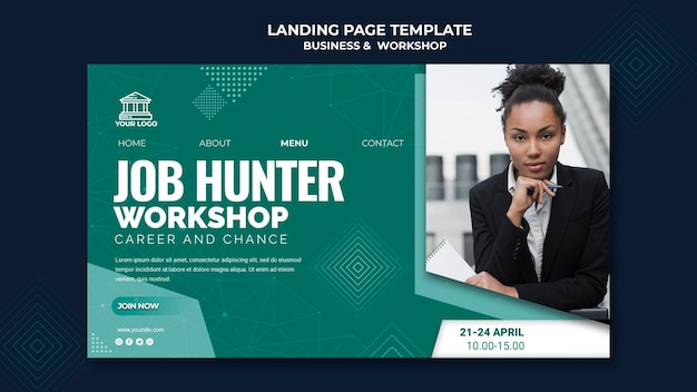 Business & workshop landing page theme Free Psd