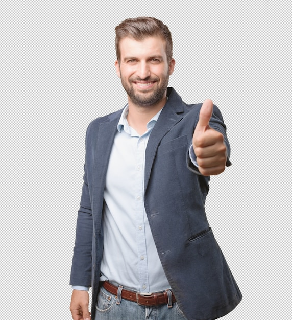 Businessman doing thumbs up gesture Premium Psd