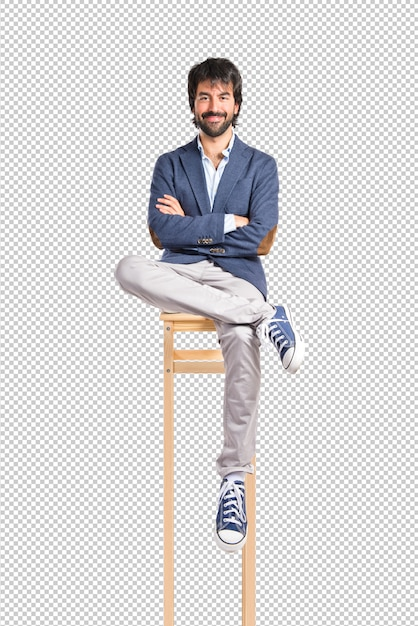 Businessman with his arms crossed over white background Premium Psd