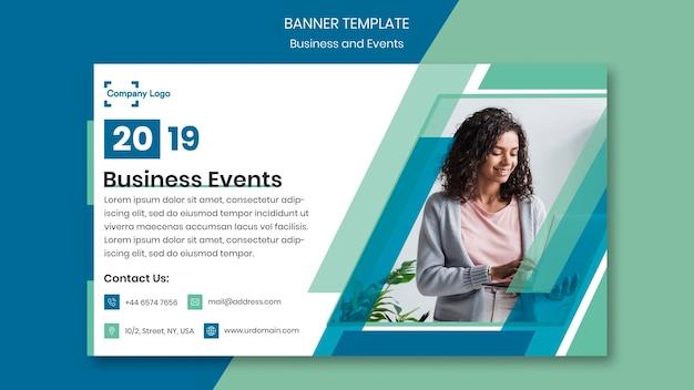 Businesswoman on a banner design template Free Psd