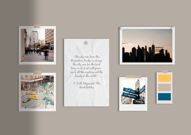 Busy city moodboard template Free Psd