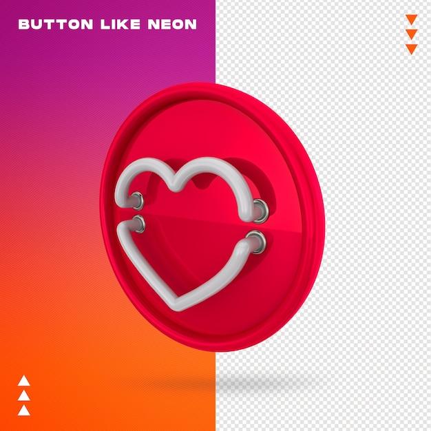 Button like neon Premium Psd